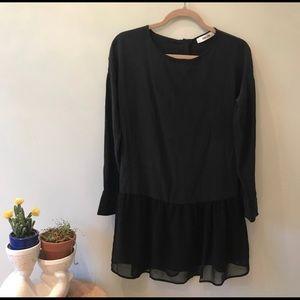 Annie Bing 100% Silk drop waist black dress